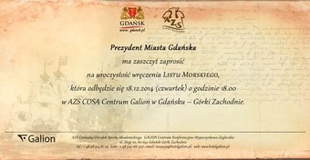 """Prezydent Gdańska wręczy """"List Morski"""""""